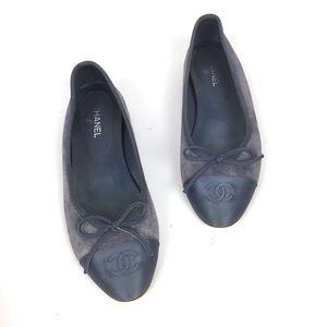 CHANEL Suede & Silk Cap Toe Classic Flats \\ Sz 36